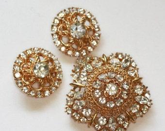 CIJ Sale Crystal Domed Star Shaped Brooch Round Clip Earrings Vintage Set