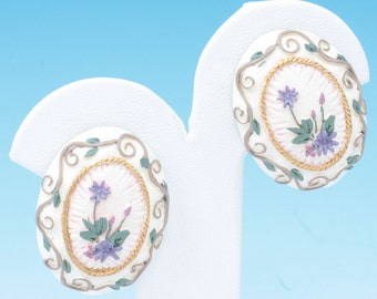 Applied Flower Design Earrings Ceramic Clip On Vintage
