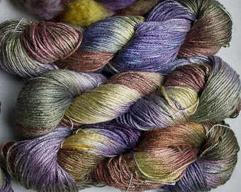 Silk Bamboo, Hand painted yarn, 225 yds - Deep Woods