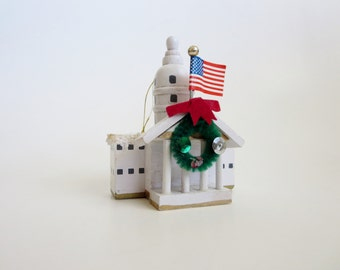 Vintage Wooden Christmas ornament - White House  decorated for Christmas  - Kurt S. Adler Inc in Taiwan - Christmas decor