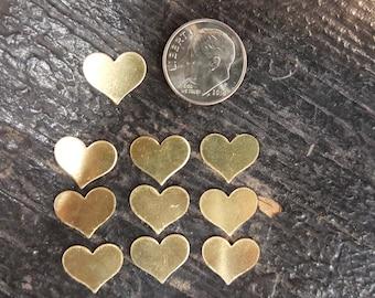 Brass Heart Blanks (10)