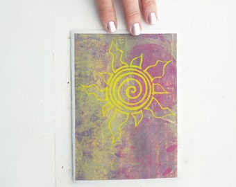 Painted and Silk Screened Greeting Card-  Spiral Sun with Pink and Yellow