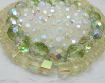 3 Different Czech Crystal Aurora Borealis Beads - Green, Yellow And White