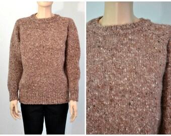 Vintage Chunky Wool Tweed Sweater - made in Ireland