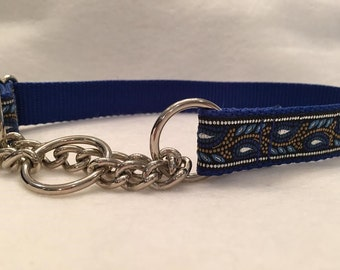 Chain Martingale Silver and Royal Blue Collar In L Only - Last One - Sale