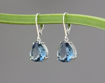 Blue Sapphire Silver Earrings, Wedding Party, Birthday Gift for Wife, for Sister, Bridal Shop, for Girlfriend, Blue Earrings, Hanukkah Gift