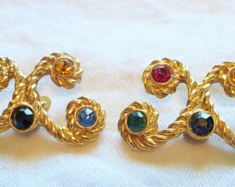 Vintage Shoe Clips Multi Color Rhinestones Gold Red Blue Black Yellow