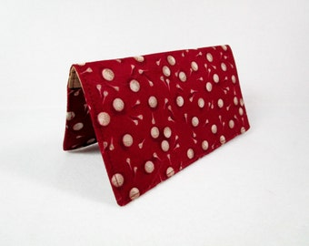 Golf Handmade Fabric Checkbook Cover / Washable