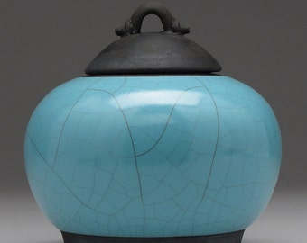 Ceramic jar with lid,Raku jar, turquoise blue, handmade, home decor, art pottery