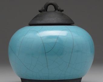 Ceramic jar with lid,Raku jar, turquoise blue, handmade, home decor, art pottery