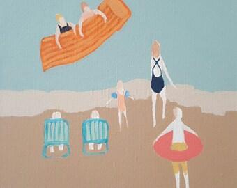 "Original Painting , 6 x 6, Folk art, modern, minimalist,beach, ""Fifth Day of Vacation 1 of 2"""