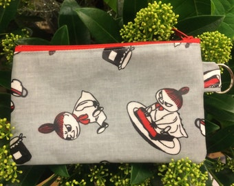 Moomin Little My OIL CLOTH coin purse, wallet, travel, make up pouch, from Finland