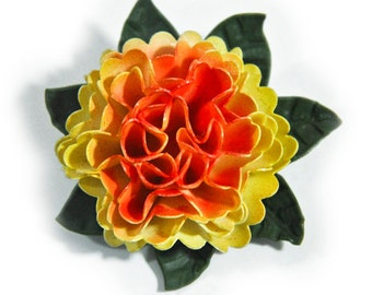 Antique Paper Thin Plastic Celluloid Dimensional Flower Pin Brooch