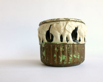 Vintage Elephant Pottery Planter Pot Made in Japan Chippy Home Decor