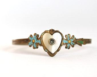 Vintage Girl's Bracelet Mother of Pearl Heart