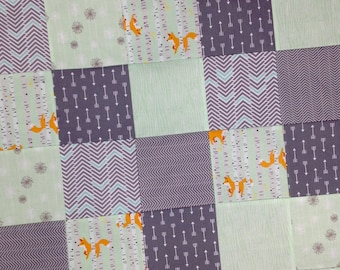 Patchwork baby blanket-Fox Baby Quilt-gray mint baby blanket-fox arrow baby quilt-minky blanket-baby boy quilt-baby quilt etsy-Ready to Ship
