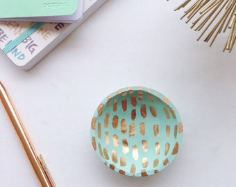 Mint and Gold Ring Dish