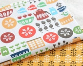 Home Decor Table Cloth Linen - Nordic Shabby Chic Floral Flower Leaf Leaves Patchwork (1 Panel, 17x55 inches)