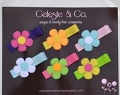 SUMMER SALE Baby Hair Clips - Bows - Toddler Hair Clips - Flowers on Alligator Clips