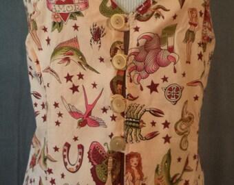 Ladies Blush Pink Old Skool Tattoo Vest sz L