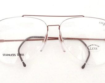 BIG Semi Rimless Aviator Eyeglasses Designer Optical Frame NOS Vintage 80s Pilot Driver Sunglasses Merlot Metal YSL St Laurent Imprint