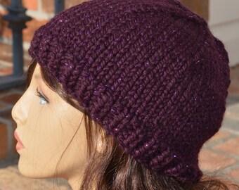 Knit Hat - Women's Knit Hat Eggplant with Metallic Purple