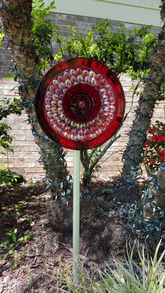 Items similar to Ruby Red Glassware Plate Garden Yard Art ...