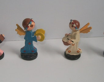 Vintage Wood Miniature Christmas Angels Playing instruments