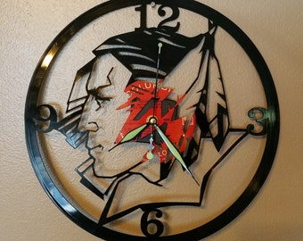 UND University of North Dakota clock made from recycled vinyl LP record