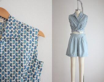 1950s blue paisley blouse
