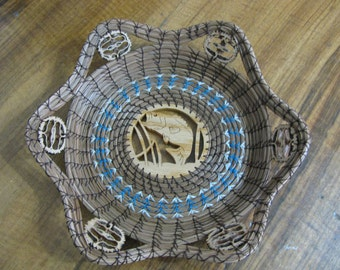 Pine Needle Basket with Scroll Sawn Image of a Fish