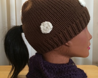 Brown Ponycap with Cream Polka Dots