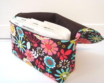 Coupon Organizer /Budget Organizer Holder-Attaches to Your Shopping Cart - Lazy Daisy Coco Floral with Brown Lining