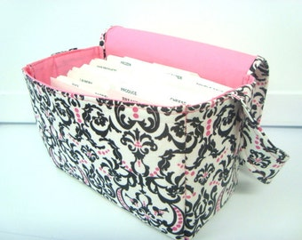 Super Large Size Fabric Coupon Organizer Holder Box- White with Black and Pink Damask
