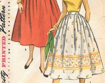 """Simplicity 4648 1950s """"Simple to Make"""" Full Skirt with Front Pleats Vintage Sewing Pattern Waist 24"""