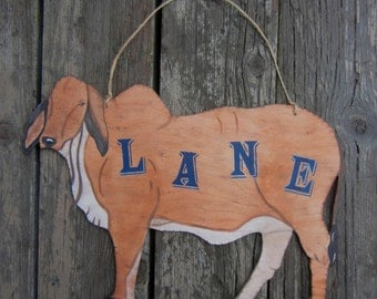 BRAHAM COW Wood Sign - Hand Painted Personalized