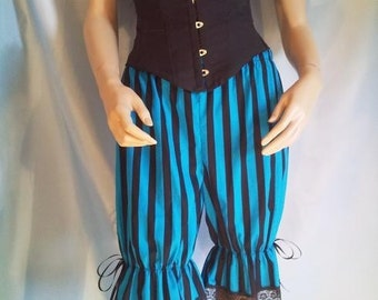 size uk 12 stripe bloomers blue and black