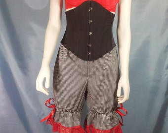 size uk 10 black and white narrow stripe bloomers red lace