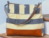 Waxed Canvas Bag daily purse Stockholm Gray geometric nautical striped Shoulder bag Leather / Ikabags Featured on The Martha Stewart L1