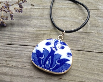 Repurposed Blue Willow China Necklace