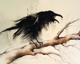 Original Crow Drawing Charcoal Black and White Art Crow on a Branch Gothic Blackbird Halloween Art  12x8""