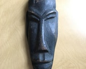 Vintage Carved Wooden Face Mask Tribal 50s 60s Wall Decor African Wood Jamaican