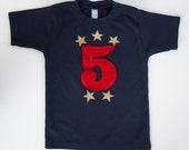 Toddler Birthday shirt, Star and Number Applique Tee, (No Ink) High Quality, Free Shipping