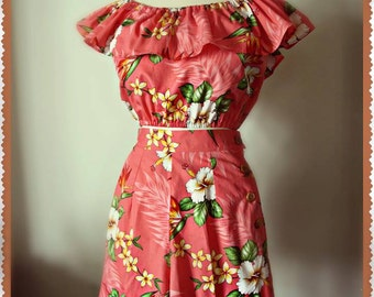 Swell Dame 1950s  ruffled peasant blouse and shorts with hawaiian tropical print fabric Many fabric choices!!!