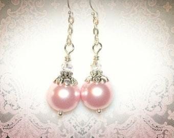 Pink Pearl Dangle Earrings. Bridal Earrings. Bridesmaid Jewelry