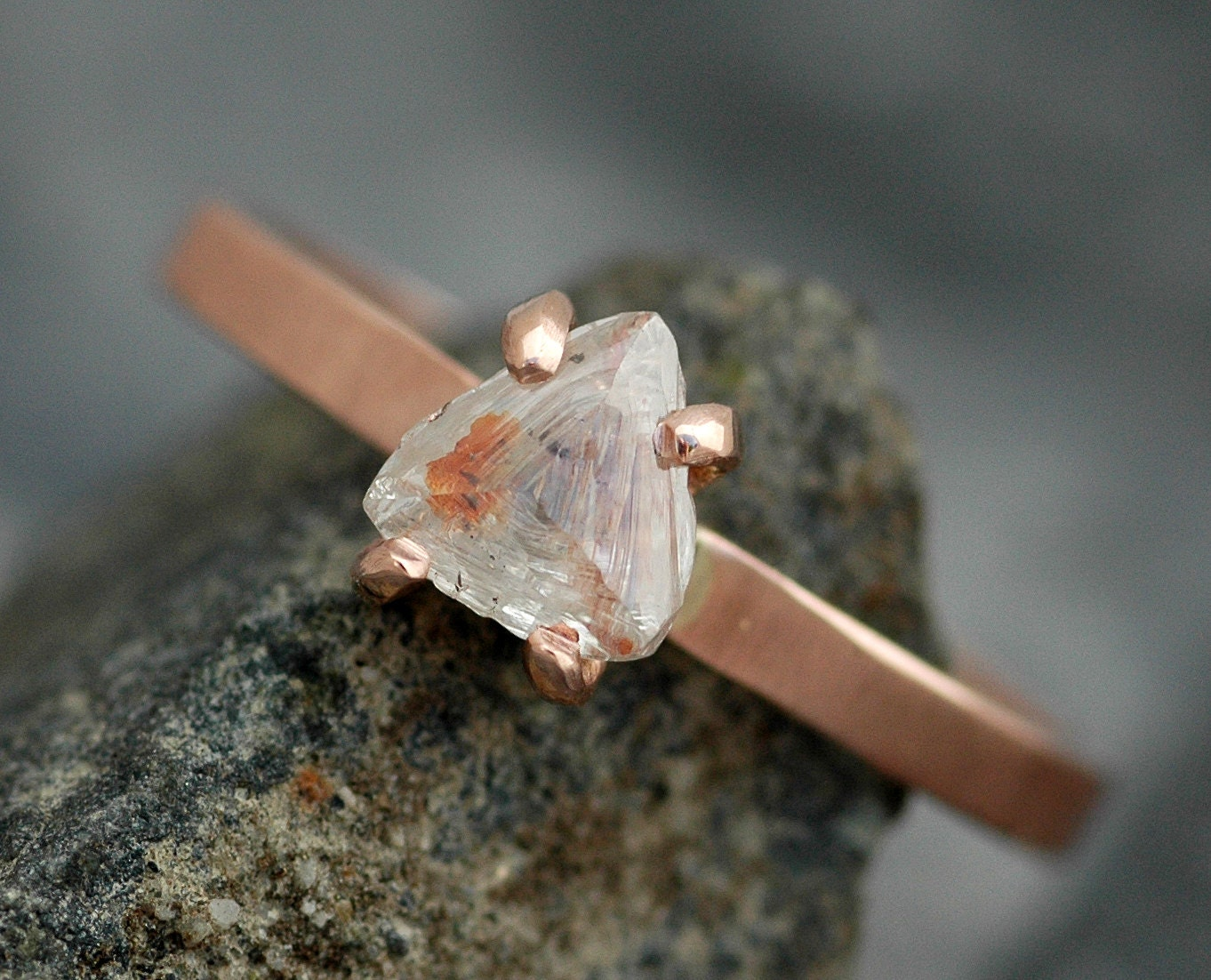 Transparent Raw Diamond On Thin Recycled Gold Band Custom Made Engagement  Ring
