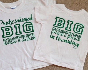 Big Brother Shirt Set, Big Brother In Training, Professional Big Brother, Set Of 2 Shirts, Siblings Tshirts, Big Brother T-shirts