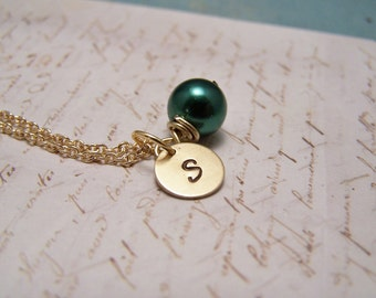 Dark Emerald Green Pearl and Initial Necklace... Bride... Bridesmaid... Minimalist... custom personalized