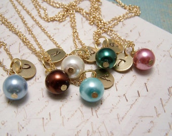 SIX Personalized Pearl  Necklaces in Your Choice of Colors. Bridesmaid. Friendship. Love.Set. Bridesmaids. Bridal Party