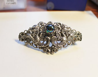 Griffin Barrette - Antiqued Silver Plated Griffins and Green Glass Orb Cameo Barrette